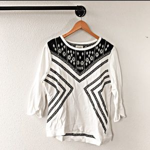 Lucy & Laurel Embroidered Printed Blouse White M